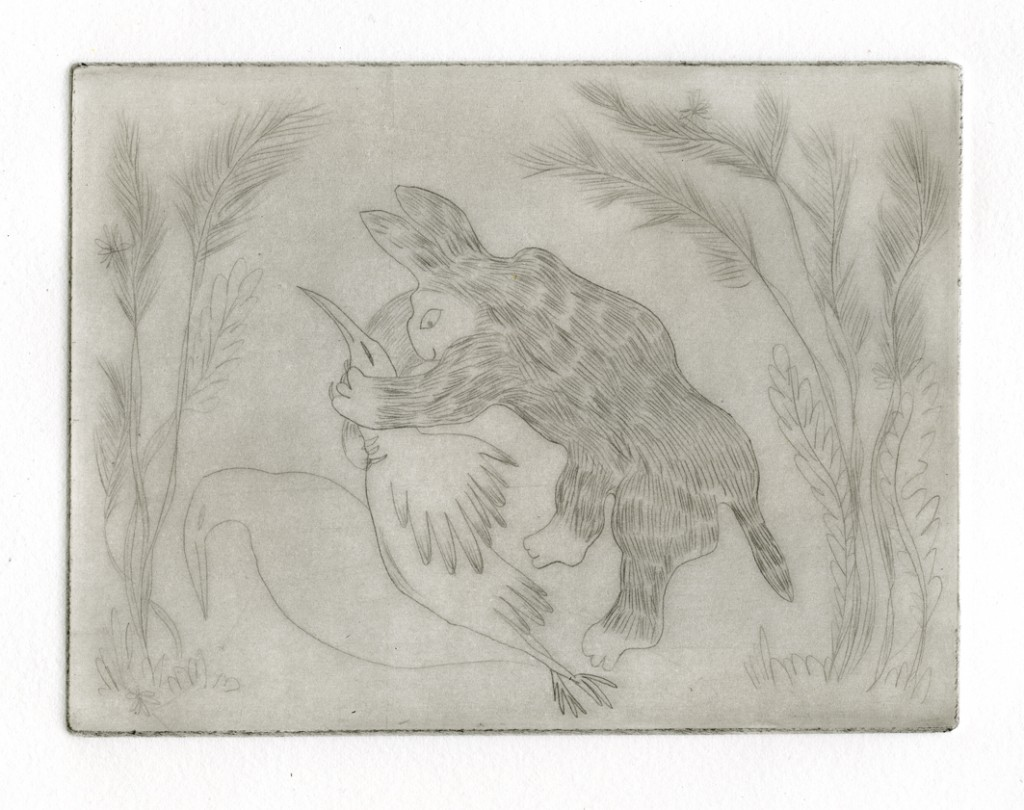 Rabbit in forest, drypoint